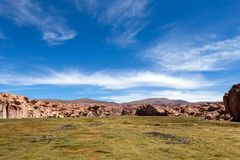 View of the Canyon of Laguna Negra and rocky landscape of the Bolivian plateau, Bolivia, South America. Black lagoon Laguna Negra, Bolivia : Colourful and stock photos