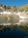 The Black lake. A black lake reflects like a mirror  mountains, snow and green grass Stock Photography