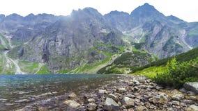 Black Lake below Mount Rysy in Tatra mountains, Poland stock footage