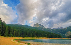 Black lake in Durmitor national park in Montenegro, Europe. Mountain, forest and beach on blue cloudy sky a sunny day at sunset. B Stock Images