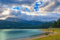 Black lake in Durmitor national park in Montenegro, Europe. Mountain, forest and beach on blue cloudy sky a sunny day at sunset. B Royalty Free Stock Photography