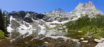 Black Lake and Rocky Mountains Royalty Free Stock Photography