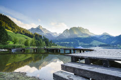 Black lake in Switzerland Royalty Free Stock Photography