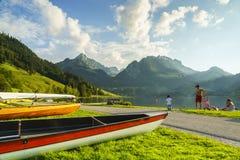 Black lake in Switzerland Stock Photos