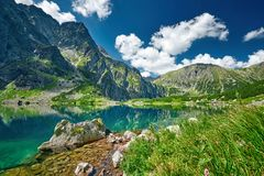 Black lake under Rysy peak, Tatra Mountains Stock Images