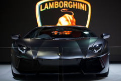 Black Lamborghini Galardo sports car on display Royalty Free Stock Photo