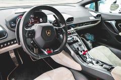 Black Lamborghini Vehicle Steering Wheel royalty free stock images