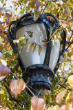 Black lamp post closeup on Central Park, New York. Photo shot from inside Central Park in New York Stock Image