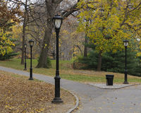 Black lamp posts and fallen leaves on Central Park, New York. Photo shot from inside Central Park in New York Stock Photo