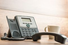 Black landline telephone with handset off line royalty free stock photos