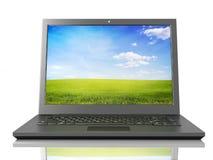 Black laptop. Black shiny laptop on white