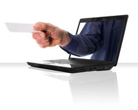 Black Laptop And Card Stock Image