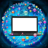 Black laptop with blank screen Royalty Free Stock Image