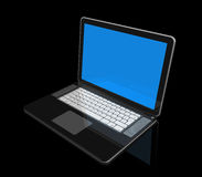 Black Laptop computer isolated on black. 3D black laptop computer isolated on black with 2 clipping path : one for global scene and one for the screen Stock Photos