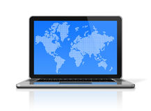 Black Laptop computer with worldmap on screen Royalty Free Stock Photography