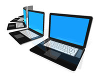 Black Laptop computers isolated on white. 3D black laptop computers isolated on white Stock Photo
