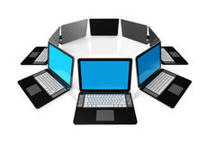 Black laptop computers isolated on white. 3D black laptop computers isolated on white Royalty Free Stock Photo