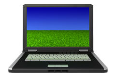 Black laptop with grass and sky on screen. 3d black laptop with grass and sky on screen isolated on white background stock photos