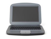 Black laptop isolated on white background. 3d rendering vector illustration