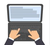Black laptop and men`s hands on the keyboard vector illustration