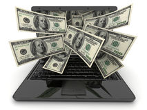 Black laptop and money Stock Photography