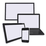 Black laptop, monitor, tablet pc and smart phone Royalty Free Stock Images