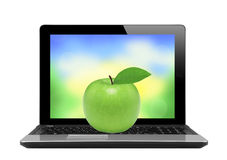 Black laptop with nature screen and fruit isolated on white Royalty Free Stock Photography