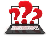 Black laptop and question Stock Image