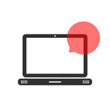Black laptop with speech bubble Royalty Free Stock Image