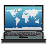 Black laptop with world outlines. On the screen. Front view Stock Photos