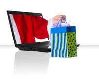 Black laptop Xmas Royalty Free Stock Photos