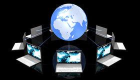 Black Laptops Aroun The World Stock Photography
