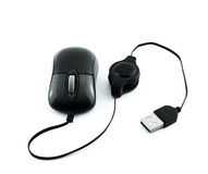 Black laser computer mouse with usb wire Royalty Free Stock Photos