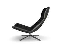 Black lather armchair isolated on white background 3D rendering royalty free illustration