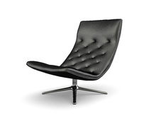 Black lather armchair isolated on white background 3D rendering Royalty Free Stock Photography