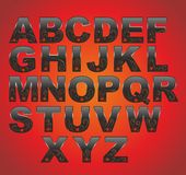 Black latin alphabet Royalty Free Stock Image