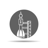 black launch site with rocket, spaceport icon, vector illustrati Royalty Free Stock Photos