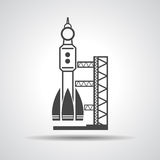 Black launch site with rocket, spaceport icon Stock Image