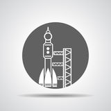 Black launch site with rocket,  spaceport icon Royalty Free Stock Photos