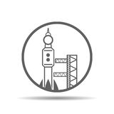 Black launch site with rocket, spaceport icon, vector  Royalty Free Stock Photography