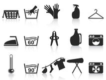 Black laundry icons set Royalty Free Stock Photo