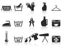 Free Black Laundry Icons Set Royalty Free Stock Photo - 23708545