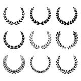 Black laurel wreaths. Set 2. Royalty Free Stock Photography
