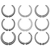 Black laurel wreaths set Royalty Free Stock Photos