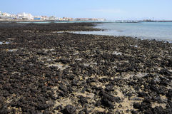 Black lava on the coast of Fuerteventura Stock Photo