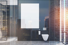 Black lavatory, poster, double. Black lavatory interior with a vertical poster, a shower with a glass wall and a loft window. 3d rendering mock up toned image Stock Images