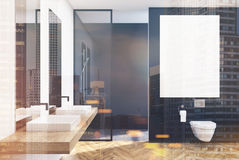 Black lavatory, poster, sink, double. Black lavatory interior with a vertical poster, a shower with a glass wall, a double sink and a loft window. 3d rendering Royalty Free Stock Image