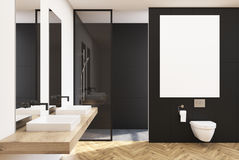 Black lavatory, poster, sink. Black lavatory interior with a vertical poster, a shower with a glass wall, a double sink and a loft window. 3d rendering mock up Stock Photography