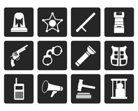 Black law, order, police and crime icons Royalty Free Stock Photography