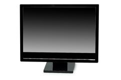 Black lcd monitor isolated. On the white Stock Photo